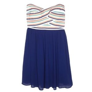 B. Darlin Neon Orange & Royal Blue Formal Dress